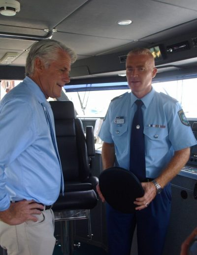Assistant Commissioner Mal Lanyon gives me the run down of the new boat