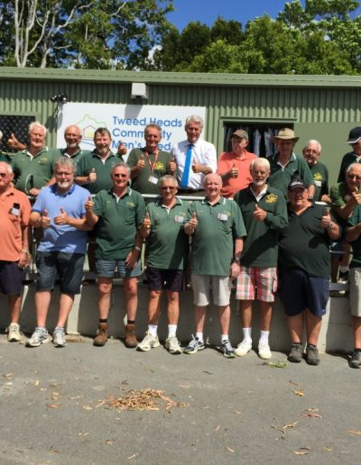 At Tweed Heads Mens Shed. Funding of the last stage approved, Mens Shed Men..are happy..