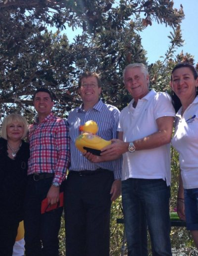 At the Rotary Great Duck Race Sunday 26th October with Maggie-Anne Leybourne, Matthew Fraser, Deputy Premier Troy Grant and Jayne Henry