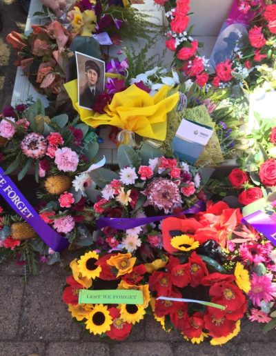 Beautiful wreaths and flowers laid at Kingscliff Cenotaph