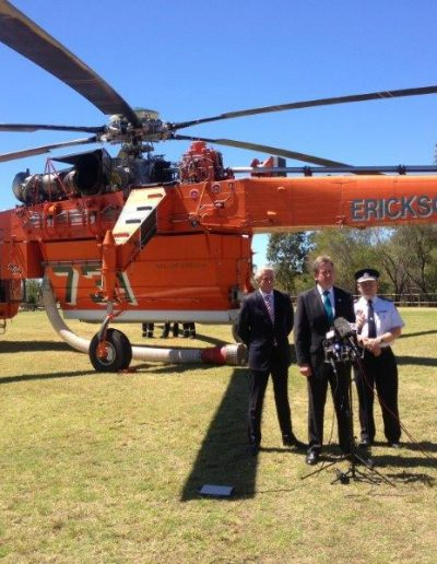 Geoff and Premier Barry O'Farrell welcome the arrival of the 'Gypsy Lady' firefighting Air-Crane to NSW, bolstering the RFS's aerial water-bombing capability.