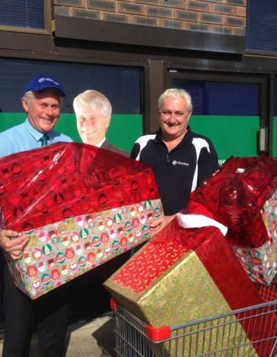 Getting into the Christmas spirit. Donating to the St Vincent de Paul Christmas Family appeal. CEO Brian Goodall happy to take these gifts off my hands and pass on to a much deserving family