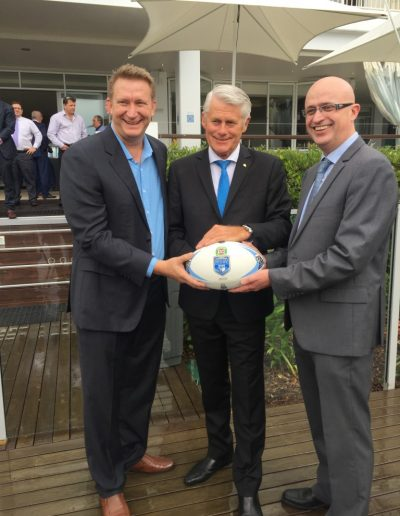 Here with Mantra on Salt Beach GM Scott Robertson and TSC GM Troy Green at the NSW State of Origin announcement
