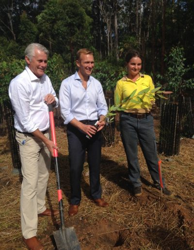 Here with Minister for Environment Rob Stokes planting the first small seedling of up to 15,000 koala food trees.
