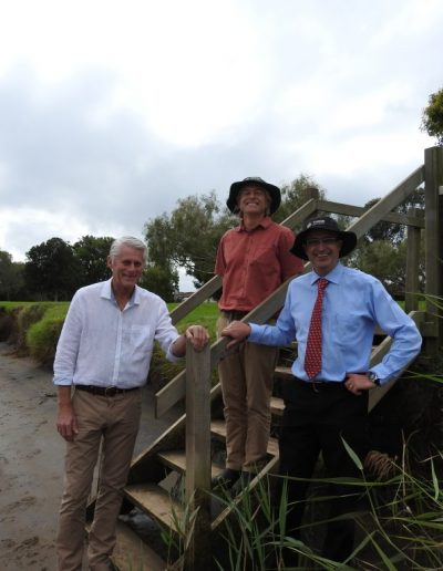 Here with Tom Alletson TSC Waterways Program Leader and Troy Green TSC General Manager at Clarrie Purnell Park, Condong