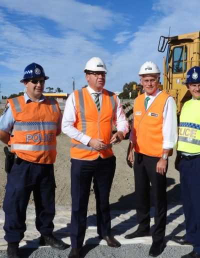 Inspecting the new Tweed Police station site with the Deputy Premier, The Hon Troy Grant, Superintendent Wayne Starling and Sergeant Mal Kentwell