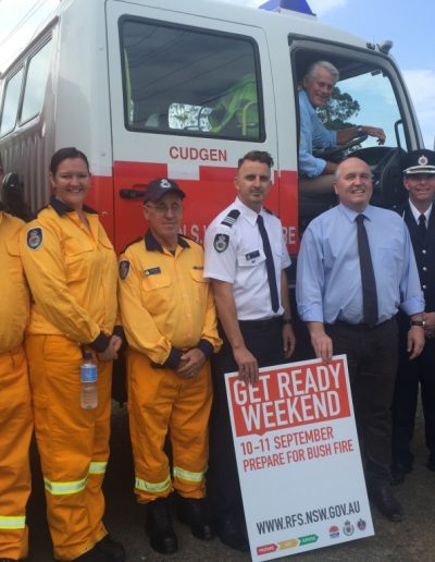 Minister for Emergency Services The Hon David Elliott visits Cudgen RFS to announce funding for four hand-held fire ground radios