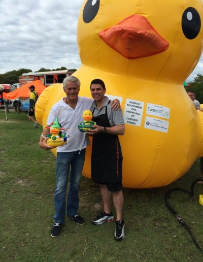 Rotary Great duck race with Matthew Fraser. Gee I hope my duck beat his..