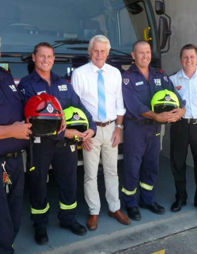 The team at Banora receive the new fire helmets